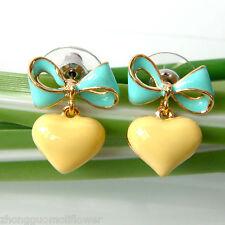 Navachi Bowknot Heart Love 18K GP Blue-Yellow Enamel Ear Stud Earrings BH1857