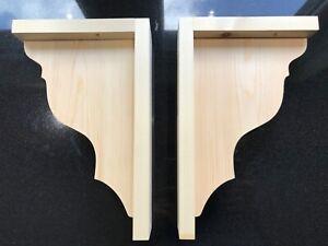 Pair of pine wooden shelf brackets supports corbels 310 mm(H) x 200mm(Deep)