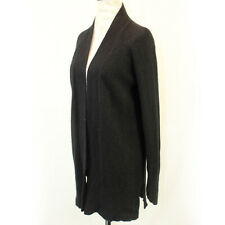 Theory 2-Ply 100% Cashmere Knit Soft Open Front Black Cardigan Sweater Small