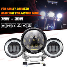 "7"" Daymaker Led Headlight+ Passing Fog Lamp For Harley Touring Road King FLHR"