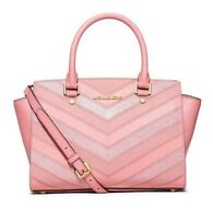 Michael Kors Pale Pink Selma Medium  Embossed Leather Satchel Crossbody Bag $368