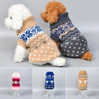 Pet Dog Winter Warm Christmas Xmas Knit Jumper Sweater Clothes Apparel Vest Coat
