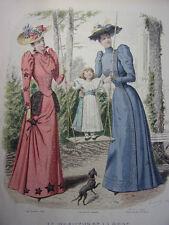 """46/ GRAVURE DE MODE """" Moniteur de la Mode Paris 1891 """".   Grand format 36x26"""