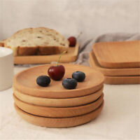 Wood Plate Serving Food Fruit Snack Tray Wooden Dish Salad Bowl Easy Clean W