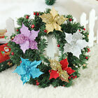 10Pcs Glitter Hollow Wedding Party Decor Christmas Flower Xmas Tree Ornaments