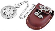 Braune Classix Cowboy Gürtel Taschenuhr analog mit Karabiner Kette