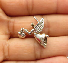 Angel Love Heart Pendant - P8643 925 Sterling Silver - Vintage Shiny Flying
