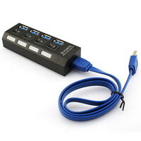 BLACK KDQ1 USB 3.0 Hub 4 Ports Speed 5Gbps for PC laptop with on/off switch