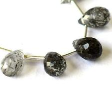 BLACK RUTILE BEADS FACTED BRIOLETTE 5X7 - 5X9 NATURAL GEMSTONE 6 CTS - 5 PCS#683