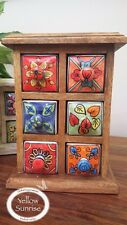 Fair Trade Mini Chest of 6 Ceramic Drawers / Spice Rack Hand Painted