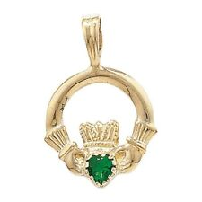 Collares y colgantes de joyería verdes de oro amarillo de 9 quilates