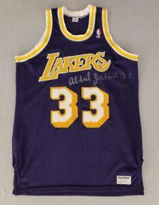 Kareem Abdul-Jabbar Signed Los Angeles Lakers Purple Sand Knit Jersey Size 46