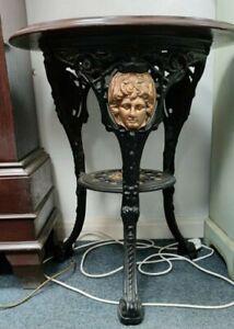 Antique English Cast Iron and Beech Garden Britannia pub Table, 1900s