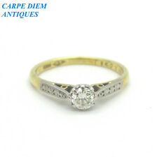 ATTRACTIVE 25PT DIAMOND SOLITAIRE SOLID 18K GOLD ENGAGEMENT RING UK J 1/2 & US 5