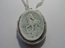 CAMEO LOCKET- UNICORN PASTEL GREEN