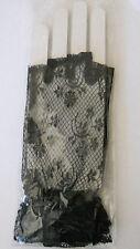 Women's Floral Print Lace Finger Less Gloves Goth Punk NEW Black