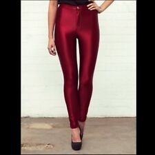 AMERICAN APPAREL Womens ORIGINAL DISCO PANTS in CRANBERRY Skinny High Rise Sz S