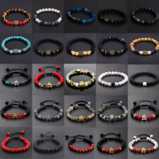 Men Women 8mm Natural Round Gemstone Bead Handmade Beads Bracelets Charm Jewelry