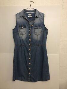 Esprit Vintage Faded Denim A Line Dress Size L Suit 12 14 16