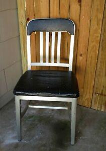 VTG Mid Century Goodform Aluminum Chair Black Seat Fireproofing Industrial Ohio