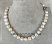 Charme kultiviert 11-12mm weiße Süßwasser Perlenkette 17,5 Zoll Magnetverschluss