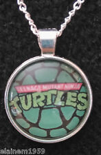"Mutant Ninja Turtles TMNT Cabachon glass dome Necklace Pendant.20"" chain"