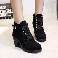 Women Block High Heels Lace Up Martin Platform Ankle Boots Roman Solid Shoes Sz