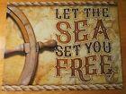 LET THE SEA SET YOU FREE Tropical Ship Wheel Nautical Boating Anchor Map Decor