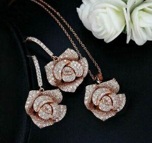 9 Ct Round Cut Diamond Flower 14k Rose Gold Over Pendant Necklace Earring Set