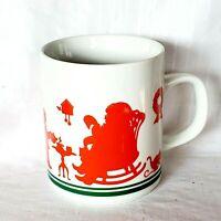 Vintage Avon Santa Claus Christmas Coffee Mug 1984 Red Silhouettes on White
