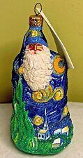 Patricia Breen Starry Night Santa Van Gogh Blown Glass Glitter 2003 #2353 w Tag