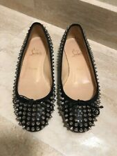 Authentic Christian Louboutin Ballerinas Studded Black Flats Shoes Size 37.5