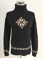 Ralph Lauren Womens Small Gray Snowflake Winter Sweater Cable Knit Turtle Neck S