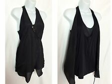 SHARON WAUCHOB 100% Silk Black Layered Metail Sequin Blouse Top Shirt Size 38