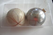 2 Silver Gold Glitter 4 Inch Shatter Resistant Christmas Ornament Decorations