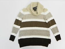 Style & Co Women Top Cowl Neck Striped Knit Shirttail Hem Long Sleeve Sweater XS