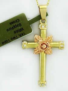 CROSS PENDANT NECKLACE 14K 2 TONES- GOLD * FREE Shipping * NEW WITH TAG *