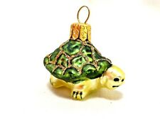 Painted Glass Old World Style Christmas Yule Tree Turtle Tortoise Ornament EUC