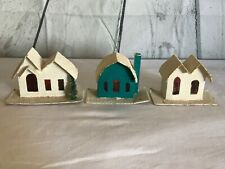 Lot Vintage Putz Christmas Village Cardboard Glitter Houses & Church - Japan