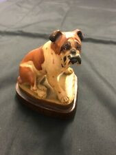English Bulldog Bully Dog Anri Italy Carved Wood Helmut Diller Signed Sculpture
