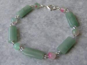 Semi Precious Stone Aventurine And Dyed Agate Bracelet