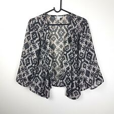 ROCKMANS sz 16 Womans Brown Black Sheer 3/4 Slv Aztec Patterned Draped Cardigan