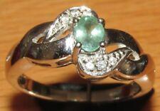 Secondhand 18ct Oro Blanco Verde ZAFIRO Y ESPIRAL Diamante Anillo Talla N