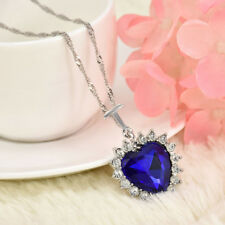 Fashion Jewelry Heart Of The Ocean Rhinestone Blue Crystal Pendant Necklace RD46