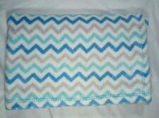 Baby Gear Polyester Plush White Blue Gray Aqua Zig Zag Chevron Baby Boy Blanket