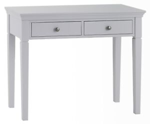 Belmont Grey Dressing Table / Painted Bedroom Laptop Desk / 2 Drawer Vanity Unit