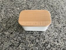 Sweese 301.101 Large Butter Dish - Porcelain Keeper with Wooden Lid