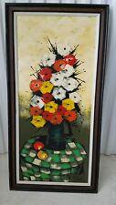 MCM Signed W.CLARK VTG French Still Life Flower Vase on table Oil Painting 60's
