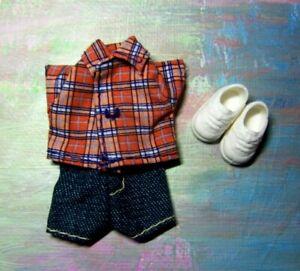 Kelly Doll Clothes *Tommy's Orange Plaid Top/Denim Short Set YOU PICK UR Shoes*