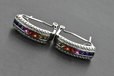 925 Sterling Silver Omega Studs Art Deco Multi-Color Rainbow Sapphire Earrings